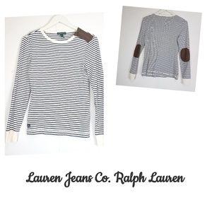 Ralph Lauren navy white striped elbow patch